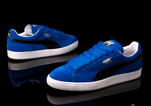 suede pumas with fat laces